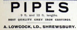 Arthur Lowcock, Pipes, Advertisement