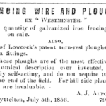 Lyttelton Times, 1856, Ad for Lowcock Plough