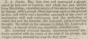 Woolmers Exeter and Plymouth Gazette, Lowcock Plough Toast, 1843