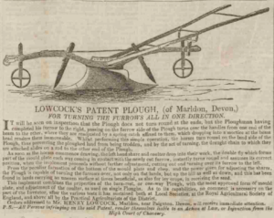 Lowcock Plough, Advertisement, 1845