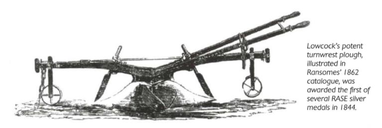 Lowcock Plough 1844 RASE Silver Medal Winner